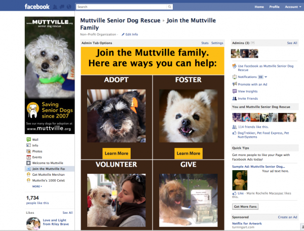 Muttville Senior Dog Rescue Facebook Page